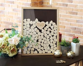 Wedding Guest Book Alternative Rustic Guest book Heart Personalized Wedding Guestbook Wedding Guest Book Wood Guest Book Drop Box L