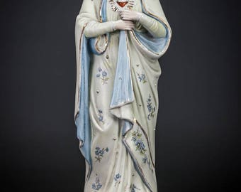 "15"" Antique Immaculate Heart Blessed Virgin Mary Bisque Porcelain Statue Madonna"