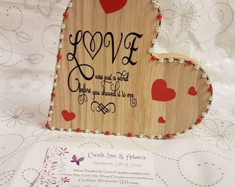 Valentines day gift love was just a word valentine romantic wood gift for wife Anniversary Sign present for husband love you modern rustic