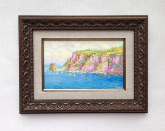 original small 9x12 oil painting framed landscape painting seascape ready to hang nautical artwork seacoast original art fashion wall art