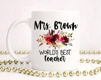 Teacher Mug Personalized,Teacher Gifts,Teacher Mug,Teacher Appreciation Gift,Best Teacher Mug,Worlds Best Teacher,Personalized Teacher Gift