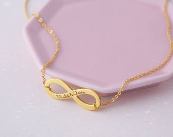 Infinity Name Necklace - Couple Name Necklace - Silver Infinity Necklace - Sisters Necklace - Personalized Gift - Engraved Necklace For Her
