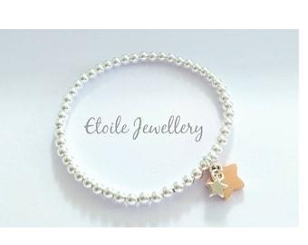 Silver bracelet with Star Charms,Stretch Bracelet,Ball Bracelet, Rose Gold Star,Silver Star Charm,Silver Bead Bracelet, Bracelets for Women