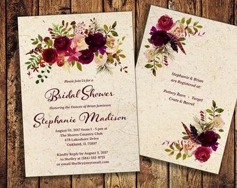 Marsala Wine Burgundy Invitation (Custom 5x7 - 2 sides) with coordinating Thank You - Printable file or Printed Cards