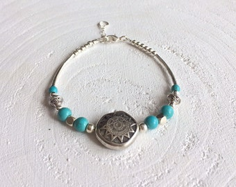 Bohemian bracelet with turquoise/blue natural stone beads, silver plated beads with a silver plated clasp and extension chain