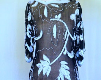 Black and White Sheer Vintage Sequined Blouse