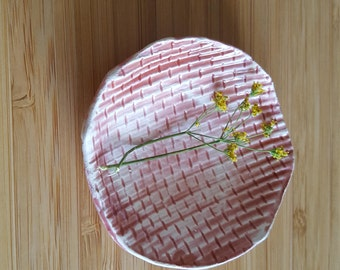 little ceramic white tray glazed in pink