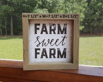 Farm Sweet Farm Sign, Farmhouse Decor, Wedding Gift, Housewarming Gift, Gallery Wall Decor, Block Sign, Rustic Sign, Farm House