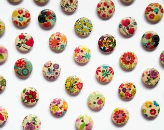 15mm Buttons ( 25 Buttons ) - Mixed Flower Buttons - Round 15mm Wood Buttons - Button Supplies - Sewing Supplies - Patterned Buttons Wooden
