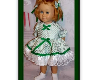 """Chatty Cathy sized. Green Dot Dress with 2 Matching  Fabric Hair Bow Clips. Fits dolls like the 20"""" tall Chatty Cathy doll."""