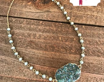 teal druzy necklace