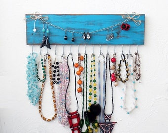 Jewelry Organizer wall, Necklace hanger turquoise