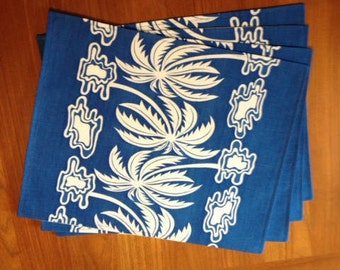 Placemats, tropical placemats, fabric placemats, table linens, handmade placemats, palm tree placemats, blue placemats, set of 4 placemats
