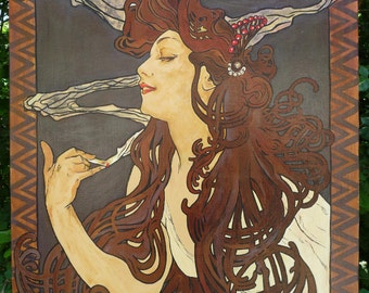 JOB - Painting Acrylic - Artwork Picture - Reproduction - Alfons Mucha - by Christine Cibois French Artist