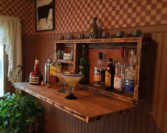 Rustic Murphy Bar Wall mount Bar Man Cave Liquor Cabinet