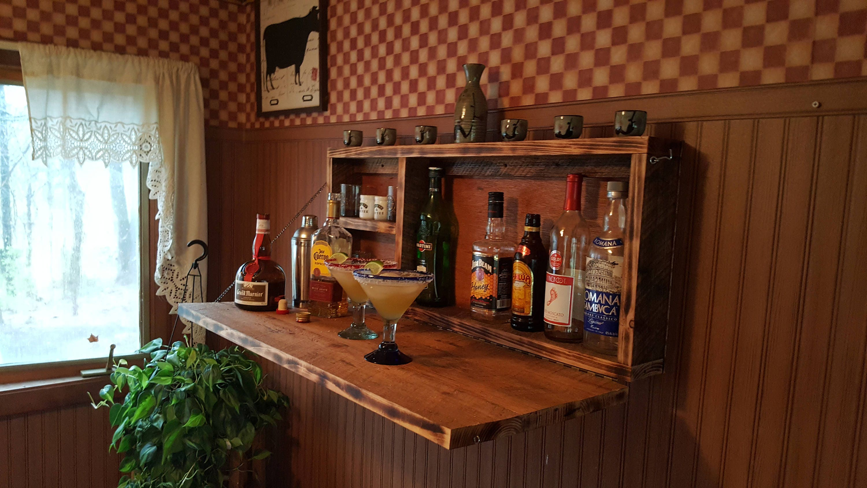 Man Cave Bar Cabinet : Rustic murphy bar wall mount man cave liquor cabinet