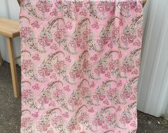 Pink paisley vintage fabric narrow width pillows curtain 50s