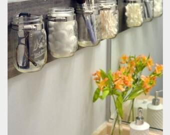 Rustic mason jar organizer