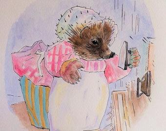 Mrs.Tiggy-Winkle | Beatrix Potter | watercolour painting | Rendition | Original watercolour | wall art | Nursery Decor | Baby's Room |