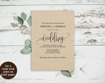 Rustic Wedding Invitations DIY, Rustic Wedding Invitations with RSVP, Rustic Wedding Invitations, Modern Calligraphy Invitation, BD-6022