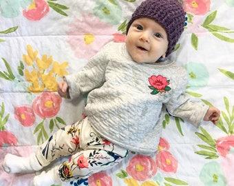 LILY Newborn Pompom Hat || Crochet Newborn Hat | Newborn Pompom Beanie | Newborn Baby Hat | Baby Girl Hat | Baby Boy Hat | Handmade