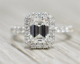 Emerald Diamond in a French Pavé Halo & Stem Engagement Ring in White