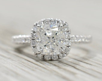 Cushion Modified Brilliant in a Pre-set Split-Prong Cushion Halo Engagement Ring in White