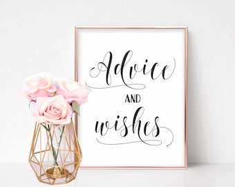 Wedding Advice Sign, Advice and Wishes, Wedding Guestbook Sign, Wedding Signs Printable, Advice for Bride and Groom, Wedding Advice Cards