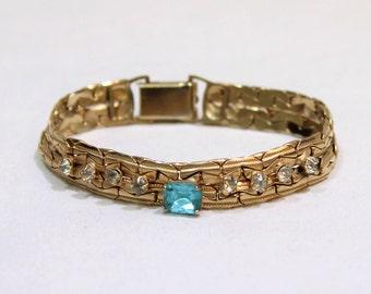 Vintage Aqua and Clear Rhinestone Gold Tone Bracelet, Gold Metal Bracelet, Vintage Jewelry, Jewellery