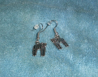 Southwestern Style Silver Cat Hook Earrings
