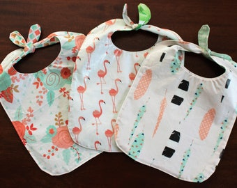 Baby Bib Water Resistant Reversible Knotted FlamingoTribal Feathers Boho Floral Cute