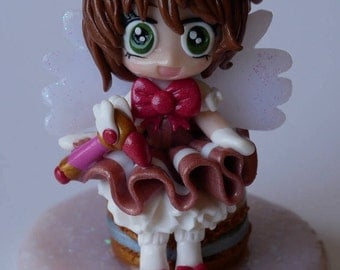 Polymer clay card captor Sakura photo holder