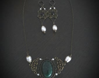 Set necklace and earrings Victorian earrings