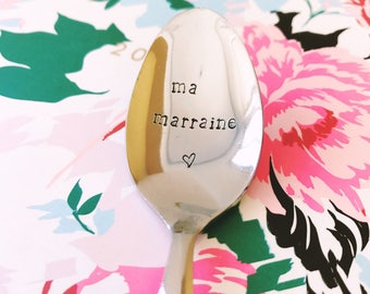 "Gift for ""Godmother"" - engraved stainless steel spoon"