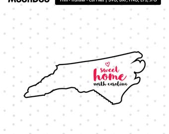 North Carolina SVG, North Carolina Home Svg, Home Sweet Home, North Carolina svg File, State Svg, Svg For Silhouette, Svg For Cricut Vector