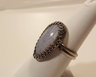 Blue Lace Agate Stone Ring