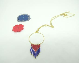 Gypsy collection: round, blue and Red seed beads, gold chain necklace - free earrings