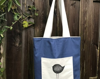 "Two-sided Shopping Bag ""Bird from the branch"""