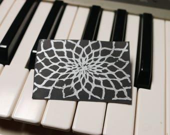 2x3 Geometric Sunflower Lino-Print Art