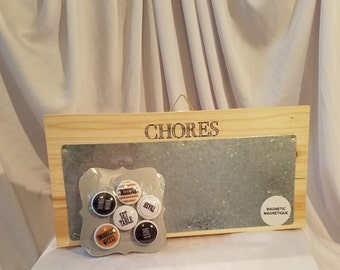 Chores Board with Chore Magnets. Hanging Magnetic Chores Board. Responsibility Chart. Farmhouse Chore Board