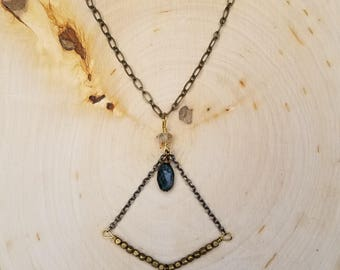 Green Tourmalinated Quartz and Blue Tourmaline Drop Necklace