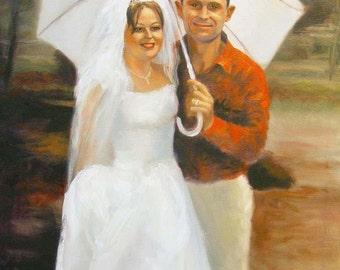 Custom portrait, custom painting, wedding portrait, wedding painting, couple portrait, couple painting, oil painting, wedding gift,