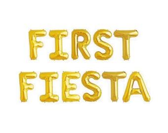 1st Fiesta First Fiesta Balloons Letters Fiesta Decor Fiesta Birthday Gold Balloons Fiesta Letter Balloons Fiesta Banner Fiesta Decorations