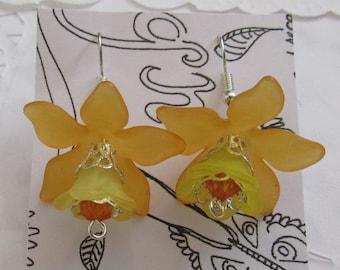 Orange and Yellow Flower Earrings