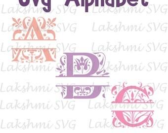 Split Monogram Alphabet SVG,Split Alphabet SVG,monogram Alphabet svg, Alphabet Cutting File,Cricut, Studio