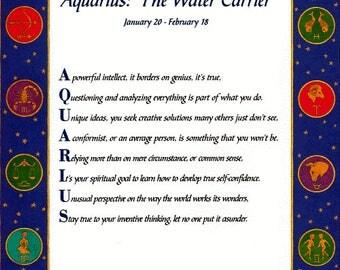 """It's in the Stars """"Aquarius"""" Acrostic Poem Print"""
