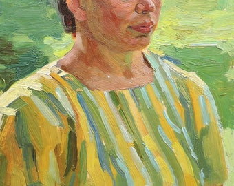 Discounted price! FEMALE PORTRAIT Vintage Original Oil Painting by Soviet artist A.Solodovnikov 1960s Portrait of a woman, Socialist realism