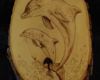 Jumping Dolphins Pyrography