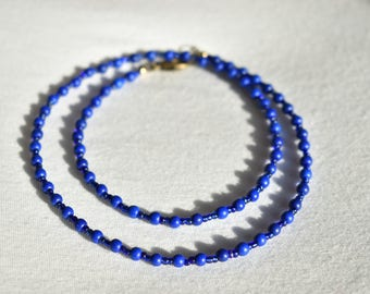 Dark Blue Howlite Glass Necklace / Natural Howlite Necklace / Cobalt Blue Glass Beaded Necklace / Handmade Necklace / Gift for Her