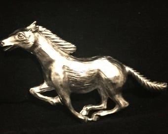 Vintage Signed J.J.  Designer Horse Brooch / Vintage Horse Pin / Silver Tone / Running Horse / Gift for Horse Lover